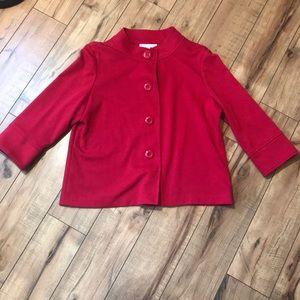 Red 3/4-length Sleeve Cropped Jacket/Cape/Blazer